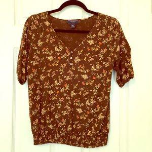 Chaps Brown Calico Print Ladies' Top
